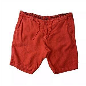 Benson Men 100% Linen Solid Drawstring Red Shorts